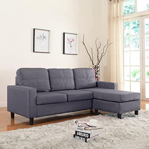 Modern Small Space Reversible Linen Fabric Sectional Sofa In Color Light  Grey, Dark Grey,