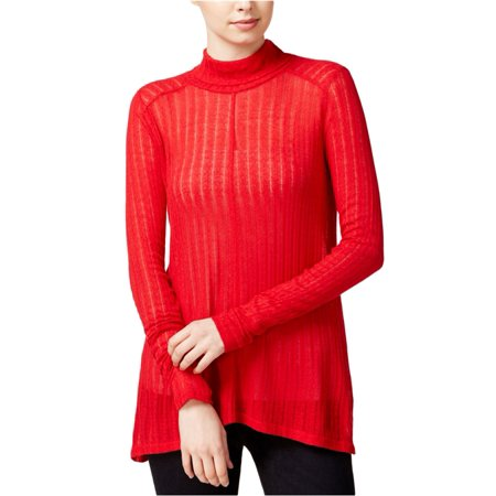 LUCKY BRAND Womens Red Sheer Long Sleeve Turtle Neck Sweater  Size: S