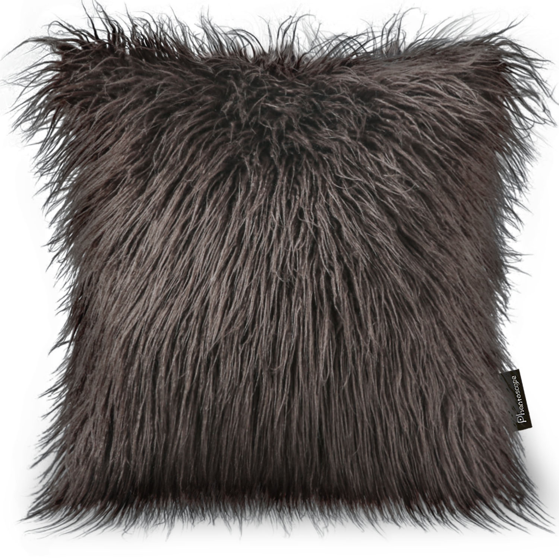 "Phantoscope Decorative New Luxury Series Merino Style Coffee Faux  Fur Throw Pillow Case Cushion Cover 18"" x 18"" 45cm x 45cm"