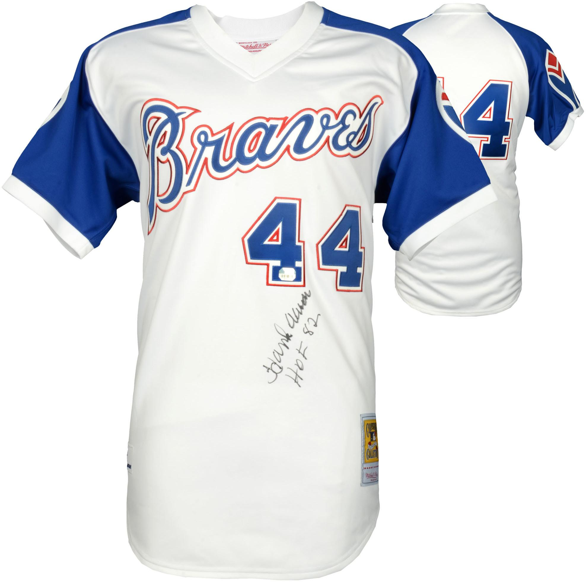 Hank Aaron Atlanta Braves Autographed Mitchell & Ness Authentic Jersey with HOF 82 Inscription - Fanatics Authentic Certified