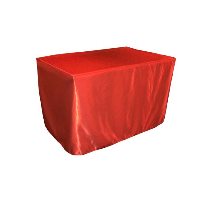 LA Linen TCbridal-fit-48x30x30-RedB98 Fitted Bridal Satin Tablecloth, Red 48 x 30 x 30 in. by