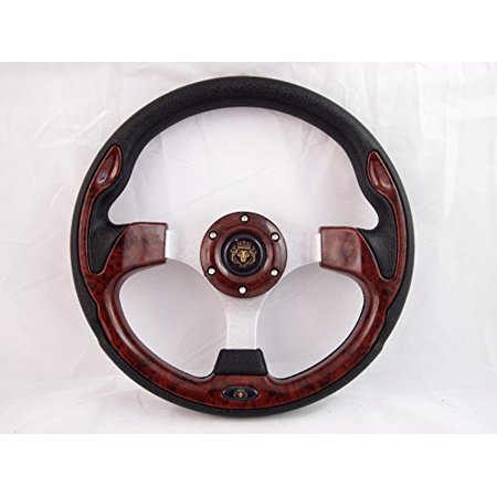 New World Motoring Yamaha G1-G19 & Polaris Rhino Wood Burl steering wheel golf cart W/ (Rhino Steering Wheel)