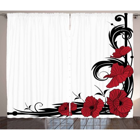 Art Nouveau Curtains 2 Panels Set, Poppy Bouquet Branches Romantic Pastoral Idyllic Meadow Blossom Vintage, Window Drapes for Living Room Bedroom, 108W X 63L Inches, Black Ruby White, by Ambesonne