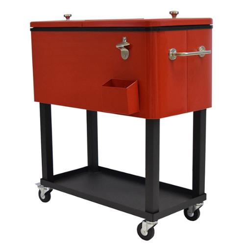 Oakland Living Corporation Premium Steel 20-gallon Party Cooler Cart with Locking Wheels and 1-inch Insulation (Red)