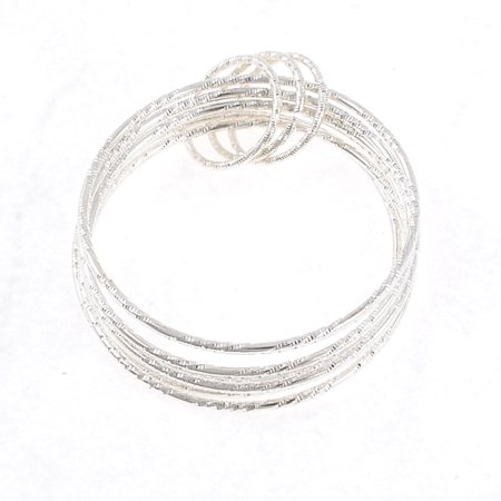 Unique Bargains  Girls Silver Tone 5m Dia Hoop Bracelet Wristlet Bangle Decoration 6 in 1