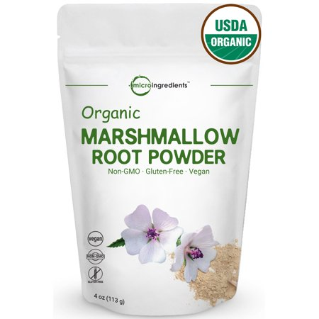 Premiun Pure Organic Marshmallow Root Powder, 4 oz. (Marshmallow Root Cut)