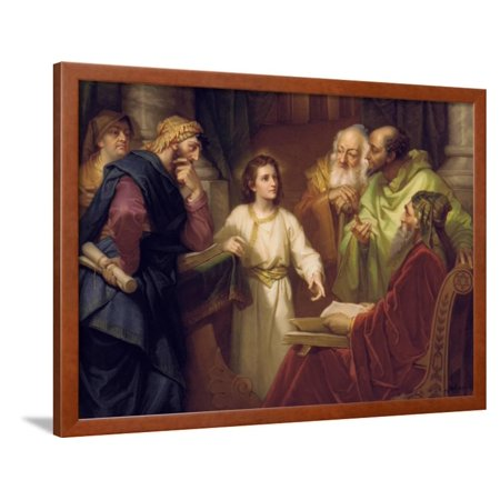 Christ Standing in the Temple Discussing the Scriptures with Five Robed Elders Framed Print Wall - Jesus In Robe