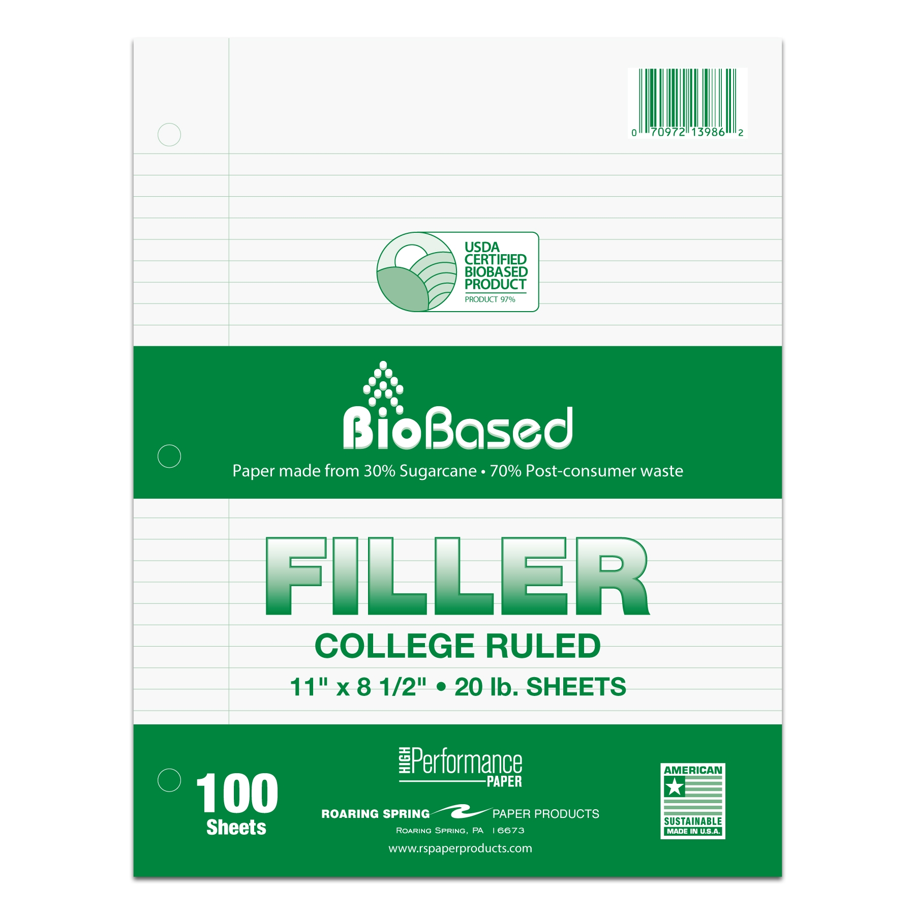 "BIOBASE FILLER 8.5""x11"" COLLEGE RULED WITH MARGIN"