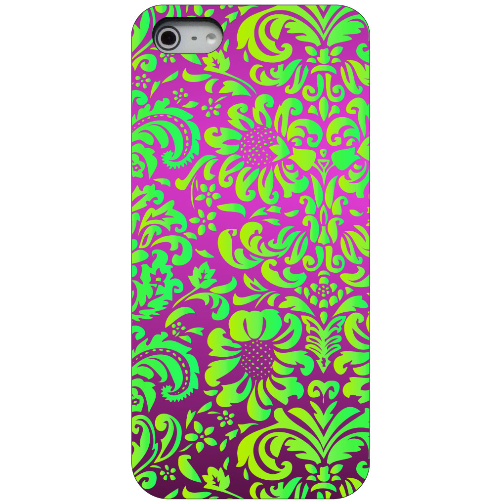 CUSTOM Black Hard Plastic Snap-On Case for Apple iPhone 5 / 5S / SE - Purple Green Floral Pattern