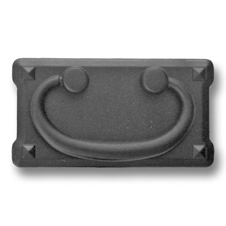 "Matte Black, Mission Bail Pull with Backplate, 3"" cc, 1/2"" proj, 3-3/4""W x 2""H,"