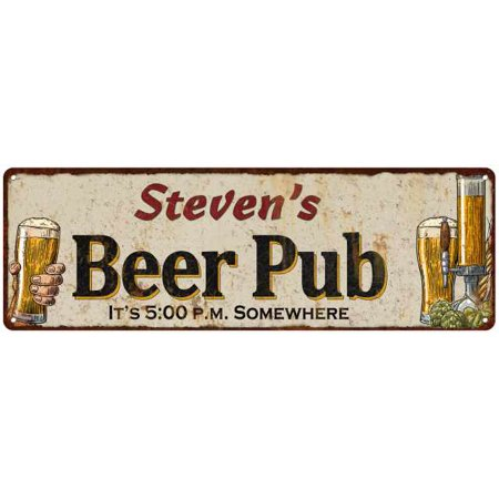 Personalized Garage Pub Sign (Steven's Beer Pub Rustic Look Chic Sign Man Cave Garage Gift 6x18 Sign M61806713 )