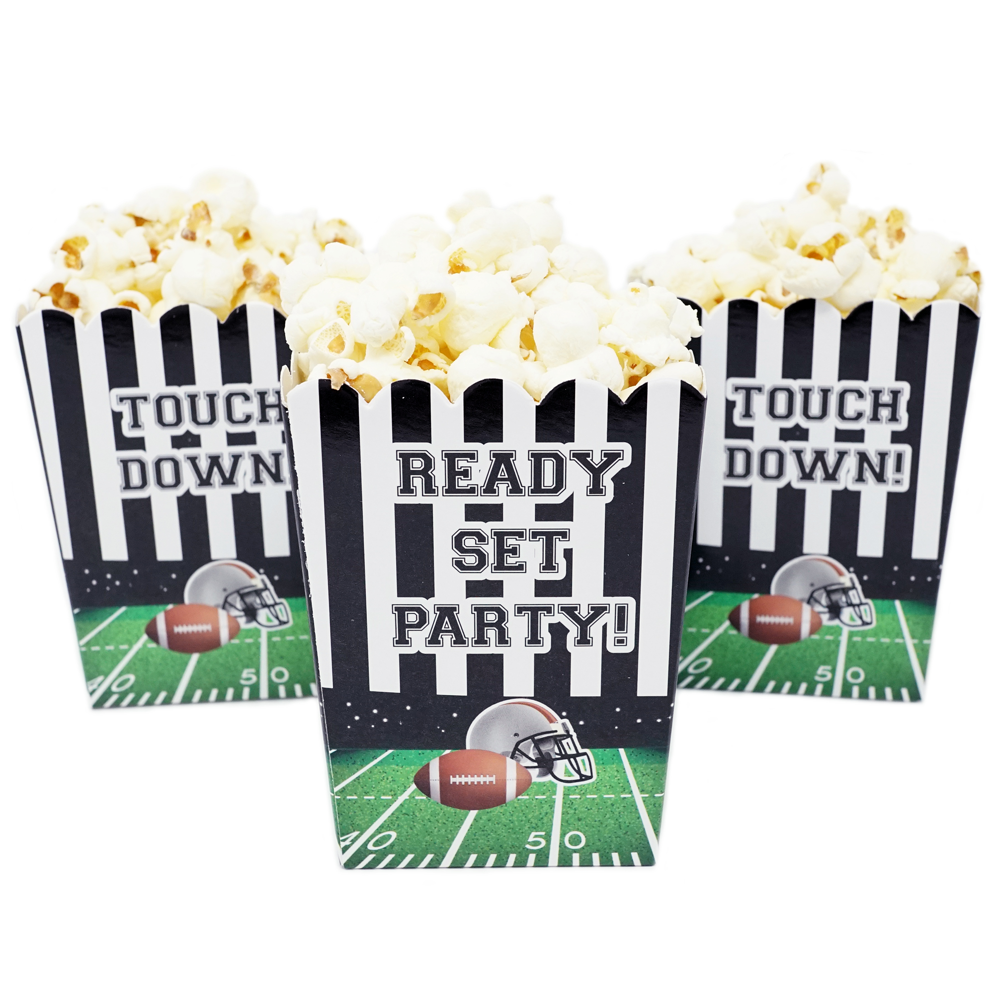 Football Themed Mini Popcorn Favor Boxes for Birthdays, Sport Events, and Customized Parties - 20 Count
