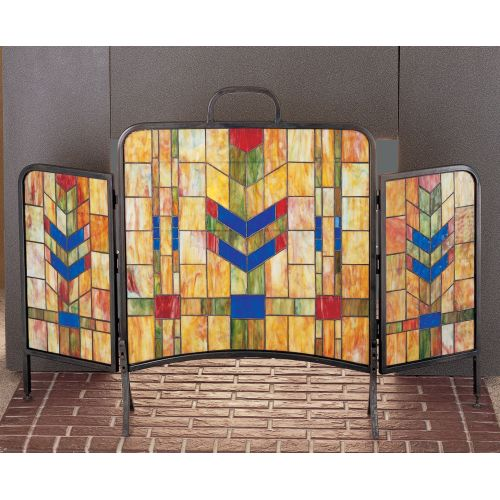 Meyda Tiffany 27241 Stained Glass / Tiffany Fireplace Screen from the Country Living Collection