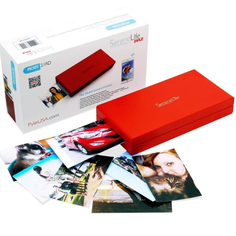 Portable Instant Mobile Photo Printer - Wireless Color Picture Printing from Apple iPhone, iPad Android Smartphone Camera - Mini Compact Pocket Size Easy Travel - SereneLife Red