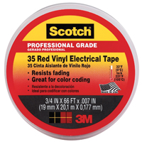 "Scotch 10810-DL-2W 3/4"" X 66' Red 35 Professional Grade Electrical Tape"
