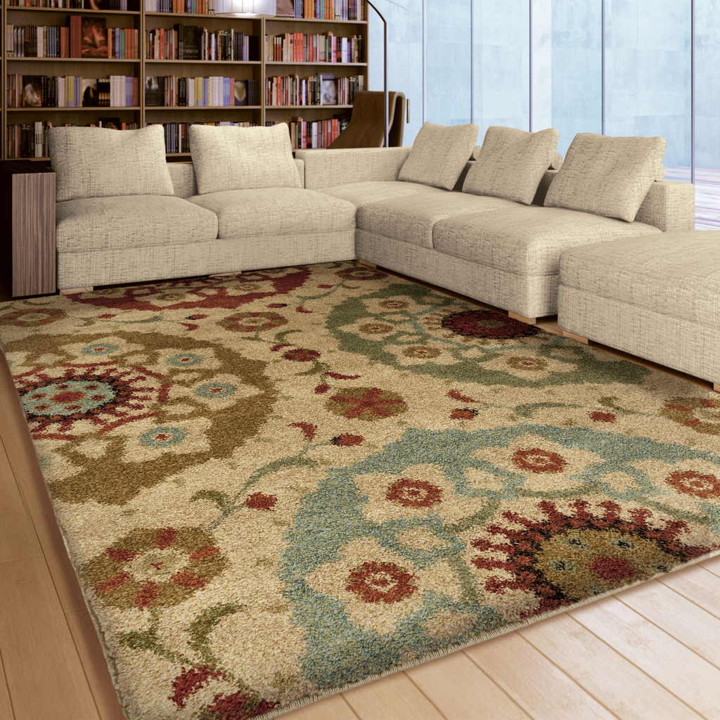 Orian Rugs Plush Stripes Floral Emblem Multi-Colored Area Rug by Orian Rugs