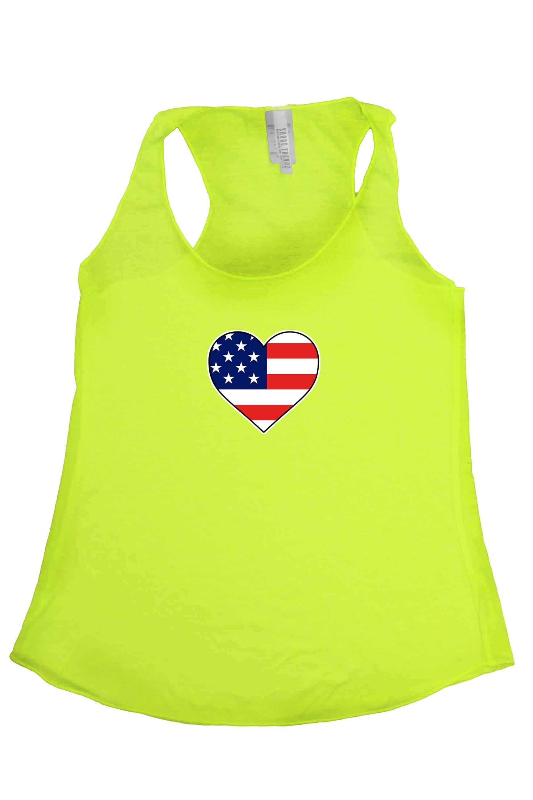 Women's USA Flag Tri-Blend Tank Top American Love Heart