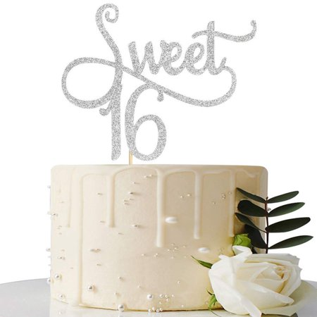Sliver Glitter Sweet 16 Cake Topper -16th Birthday Cake Topper - Sweet Sixteen Party Themes Decoration Supplies - Candyland Sweet 16 Theme