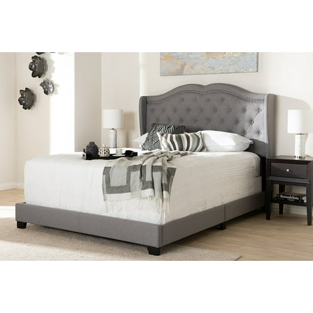 Baxton Studio Aden Modern and Contemporary Grey Fabric Upholstered Queen Size Bed ()