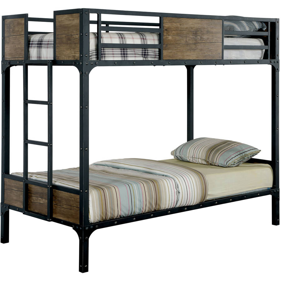 Furniture of America Finney Industrial-Inspired Twin Over Twin Metal Bunk Bed, Black