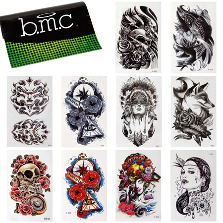 Tattoo Set (BMC 10pc Stylish Large Statement Temporary Water Transfer Fashion Tattoos Set -)