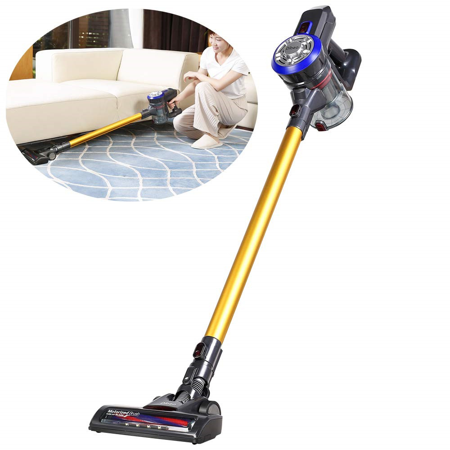 D18 Cordless Vacuum Cleaner, 9000pa Powerful Suction Stick and Handheld Vacuum for Hard Floor, Carpet,Stair Including Rechargeable Battery, Wall Mount and Pet Motorized (Best Vacuum Cleaner For Stairs And Pets)
