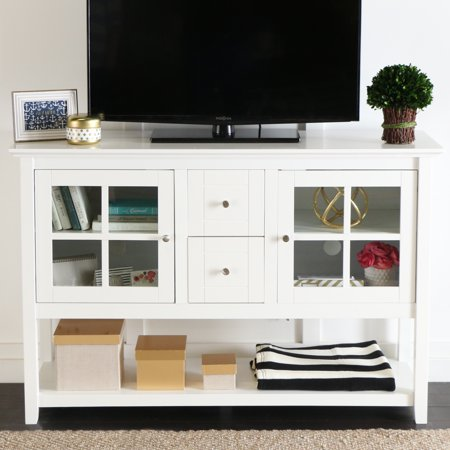 Manor Park Transitional Wood and Glass TV Stand Buffet - White ()