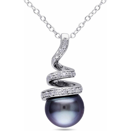 8-8.5mm Black Round Tahitian Pearl and Diamond Accent Sterling Silver Swirl Pendant, 18