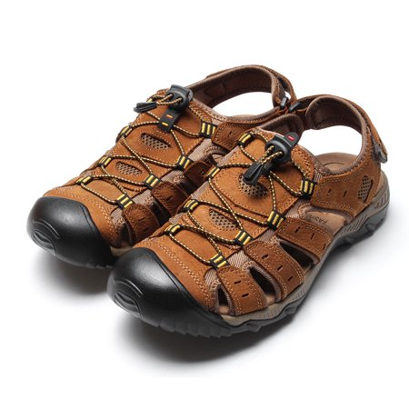 d09e885b0d30 ONLINE - Men Outdoor Beach Shoes Fisherman Closed Toe Sandals Sports  Leather Flats Size9.5 - Walmart.com