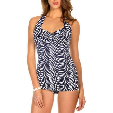 b0e47166ffe42 Catalina - Suddenly Slim Women's Slimming Shirred Halter One-Piece Swimsuit  - Walmart.com