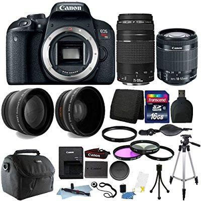 canon eos rebel t7i 24.2mp digital slr wifi enabled camera black with ef-s 18-55 is stm and ef 75-300mm lenses + 16gb top accessory bundle