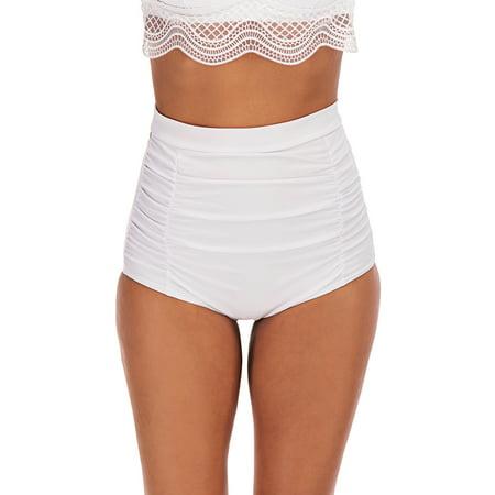 DODOING Women's Solid Ruched Tummy Control High Waisted Bikini Tankini Bottom Swim Brief Bathing Suit