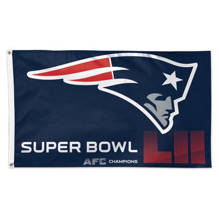 New England Patriots WinCraft 2017 AFC Champions 1-Sided Deluxe 3' x 5' Flag with Grommets - No Size - Patriots Flag