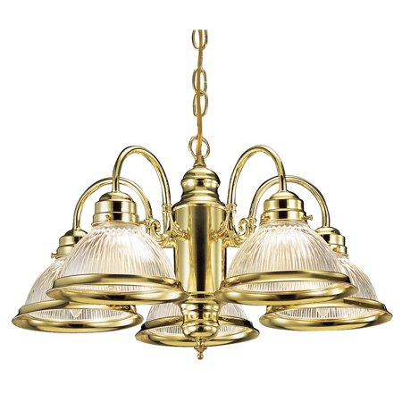 Design House 500546 Millbridge 5-Light Chandelier, Clear Ribbed Glass, Polished Brass