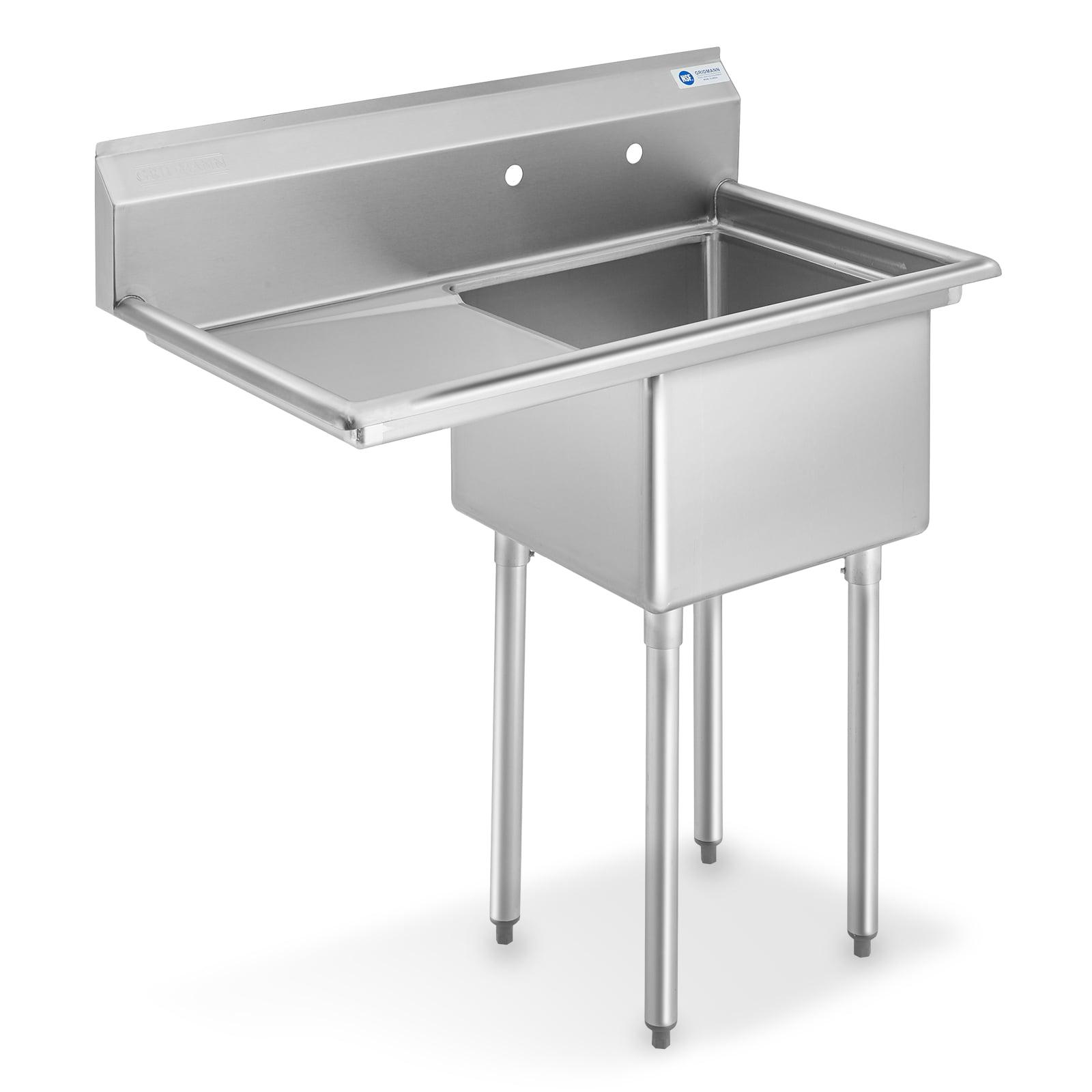 Gridmann Nsf Stainless Steel 18 Single Bowl Commercial Kitchen Sink With Left Drainboard 12 In Deep Walmart Com Walmart Com