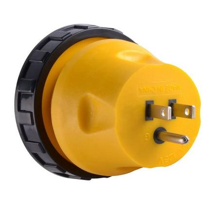 Superior Electric RVA1514L RV Power Cord Adapter 15 amp Male to 30 amp Twist Lock Female Camper Detachable