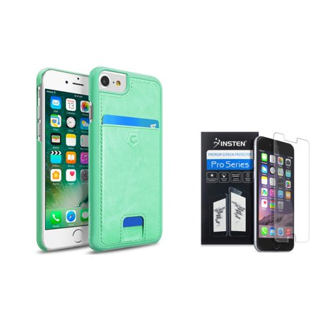 Cobble Pro for Apple iPhone 8 / 7 / 6 / 6s - Clear HD Screen Protector + Turquosie Leather Wallet Case with Slide Card Slot
