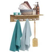 Sorbus Bamboo Wall Shelf with 6 Hooks, Wall Mounted Coat Hook Towel Rack with Shelf Storage, Great for Bathroom, Spa, Hallway, Mudroom, Bedroom, Wooden Scandinavian Style
