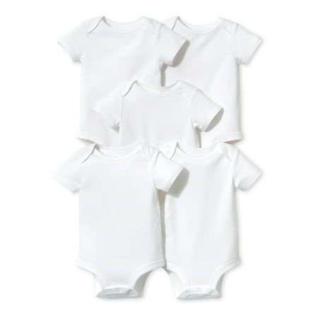 Little Star Organic White Short Sleeve Bodysuits, 5pk (Baby Boys or Baby Girls Unisex)](Star Wars Babys)