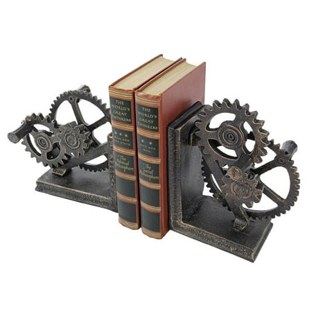 Design Bookends (Design Toscano Industrial Gear Sculptural Iron Bookends)