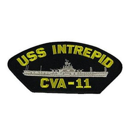 USS INTREPID CVA-11 PATCH NAVY SHIP ESSEX CLASS AIRCRAFT CARRIER FIGHTING I