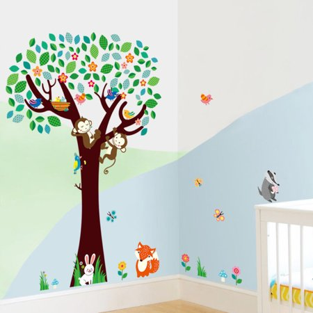 Removable Wall Decal Sticker Animals Tree Monkey Kid Baby Nursery Room Decor