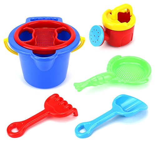 Kid Deluxe Bucket Children Kid's Toy Beach Sandbox Sand Playset w  Bucket, Watering Can, Hand Tools by Velocity Toys