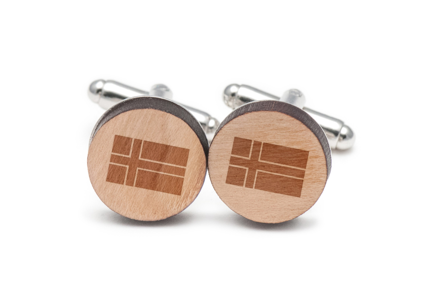 Icelandic Flag Cufflinks, Wood Cufflinks Hand Made in the USA by BigSpool Distributors