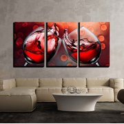 """wall26 - Red Wine Glass Cheers - Canvas Art Wall Decor - 16""""x24""""x3 Panels"""