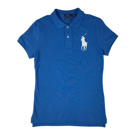 Ralph Lauren Polo Top (Ralph Lauren Polo Womens Big Pony Logo Skinny-Fit Cotton Shirt Light Blue New (White,XS) )