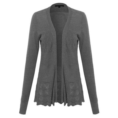 FashionOutfit Women's Lace Patterned Long Sleeves Cardigan Lace Cardigan Knit Pattern