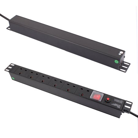 AC 250V UK Plug Fused Extension Cable 6 UK Power Socket Strip Switch PDU - image 6 of 8