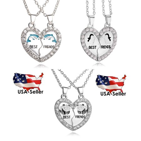 BEST FRIEND Wave Heart Silver Tone 2 Pendants Necklace BFF (Toned Obverse)