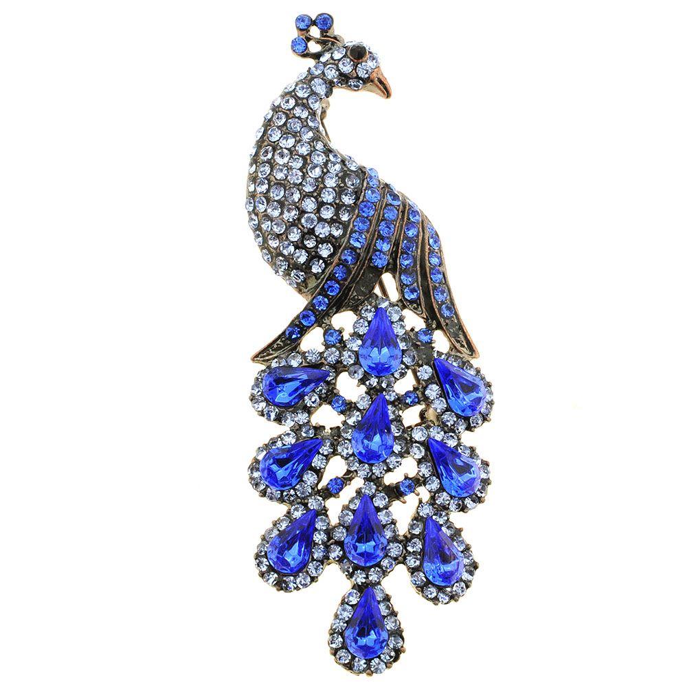Sapphire Blue Drip Drop Peacock Crystal Brooch Pin by